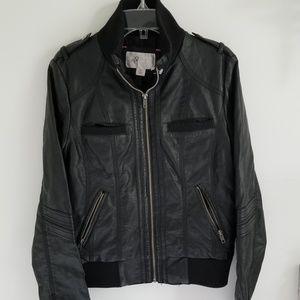 Xhilaration black faux leather moto jacket M
